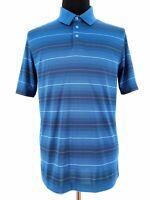 Cutter Buck Mens CB DryTech Short Sleeve Striped Blue Golf Polo Shirt Size Large