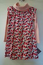 * BNWT * Tea Collection Poinsettia Turtleneck Geometric Print Dress Sz 12 Year