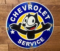 "Vintage Chevrolet Service  Felix Cat Porcelain Sign 12"" Gas And Oil Sign"