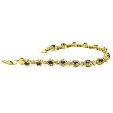 14kt Yellow Gold Diamond Sapphire Bracelet 5.00ct TDW 8.5 Inches 25.8 GRAMS