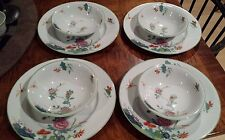 Antiques Wood & Sons Burslem England Set of 4 Plates & 4 Bowls Dragonfly Flowers
