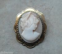 Broche camée plaquée or vintage coquillage 4 cm x 3,3 cm cameo shell gold plated