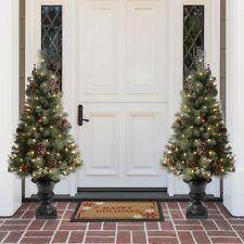 Glitzhome 4 Ft Flocked Christmas Tree With 100 Warm White Light, Pinecone SINGLE