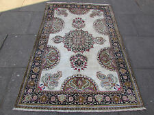 Old Traditional shabbychic Hand Made Persian Cream Silk Oriental Rug 197x130cm