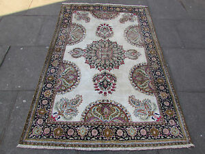 Old Traditional shabby chic Hand Made Vintage Cream Silk Oriental Rug 197x130cm