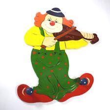 Wandhaken Garderobenhaken Clown Kinder Kleiderhaken Holz Garderobe Musik 4erSet