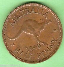 1949  AUSTRALIAN BRONZE HALFPENNY COIN