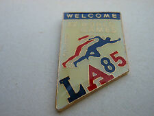 """XV WORLD GAMES PIN Vtg LA '85 """"Welcome"""" DEAF Running Traded during LA84 Olympics"""
