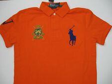 POLO RALPH LAUREN Men's Orange Custom-Fit Short-Sleeve Jockey Club Polo L