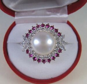 13 MM PEARL & RUBY/WHITE SAPPHIRE RING 1.86 CTW #7.25 WHITE GOLD over 925 SILVER
