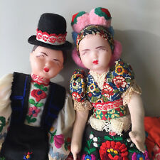 """Vtg Hungarian Matyo Dolls Couple Wedding Dress Outfit 14"""" Made in Hungary"""