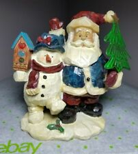 "5"" Santa and Snowman with birdhouse and metal tree Christmas Decoration"