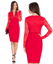 Goddess Red V Neck Long Lace Sleeve Bengaline Fitted Pencil Party Evening Dress