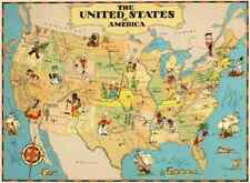 Canvas Reproduction, Vintage Pictorial Map of USA Ruth Taylor 1935