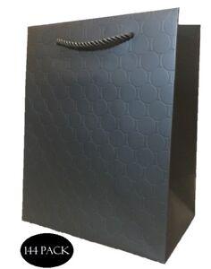 Black Paper Gift Bags Bulk Medium With Handles 8 x 10 Embossed Heavy Duty