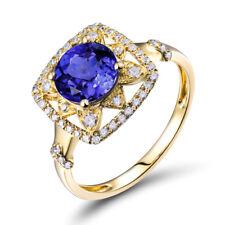 Vintage Solid 14K Yellow Gold 100% Natural Tanzanite Gemstone Wedding Women Ring