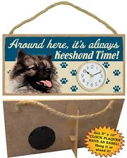 Keeshond Clock-Around here it's always (Dog Breed) Time-Hang or Easel Back