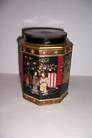 """VINTAGE ORIENTAL ASIAN TIN CAN CONTAINER WITH LID 6 1/8"""" TALL X 4 5/8"""""""