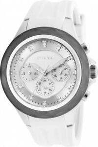 Invicta 22673 Angel Morning Star Day Date GMT White Silicone Strap Women Watch