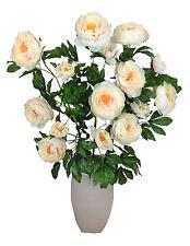 Pfingstrosen 116cm creme Seidenblumen Kunstblumen 15 Blüten Blumenstrauß