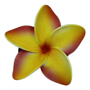 Hawaii Hair Clip Lei Party Luau Floral Dance Beach Photo Foam Plumeria Red Yellw