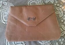 "Vintage 1950s tan clutch Rhinestone bow detail 8.5"" × 6"""