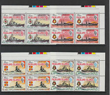 FALKLAND IS.1974 BATTLE OF RIVER PLATE IN BLOCKS OF FOUR SG 307-310 MNH.