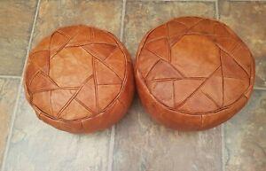 Pair of Vintage Boho Moroccan Leather Pouf Floor Cushions ottoman Retro Ethnic