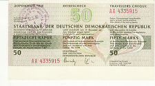 Vintage Travellers cheque DDR East Germany 50 mark 1980s' cashed in Romania