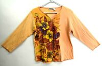 Kaktus Women's Large V-Neck Long Sleeve Floral T-Shirt w/ Beading Orange
