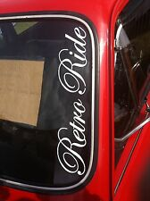 """RETRO RIDE""  WINDSCREEN /PANEL BUMPER STICKER DECAL GRAPHIC VINYL 550x100mm"
