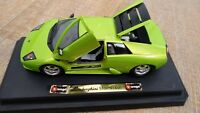 BURAGO 1:18 LIME GREEN LAMBORGHINI MURCIELAGO DIECAST MODEL SPORT Toy CAR Plinth
