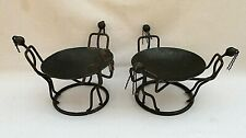 PAIR OF METAL ART SCULPTURE AFRICAN DANCING FIGURES CANDLE HOLDERS OR TRAYS