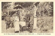 A4910) WW1 BATTERIA D'ARTIGLIERIA A MESSA DAVANTI AD UNA STATUA DI S. BARBARA.