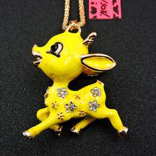 Betsey Johnson Yellow Enamel Rhinestone Lovely Sika Deer Pendant Chain Necklace