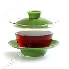 Vidro Transparente Verde 130ml Porcelana resistente ao calor Kung Fu Gaiwan Pires & Xícara De Chá