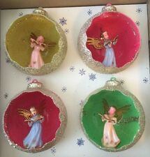 VINTAGE JEWELBRITE GLITTER ANGEL BALLS CHRISTMAS ORNAMENTS SET DIORAMA