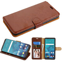For LG Stylo 4 Leather Flip Wallet Phone Case Protector Cover Stand Pouch BROWN