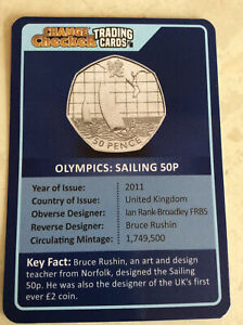 Olympic Sailing Change Checker 50p Trading Card in Protective Sleeve - No Coin
