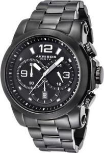 Akribos XXIV AK631BK Chronograph Date GMT Grey White Accented Black Mens Watch