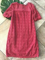 Boden Womens 10 Coral Daisy Lace Cotton Short Sleeve Knee Shift Dress HH