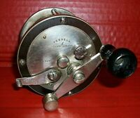 Vintage & Scarce PENNELL German Silver Conventional Reel, Circa Early 1900's USA