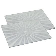 Set of 2 Sunburst Silver Glitter Mirror Placemats Dining Table Mat Place Mats