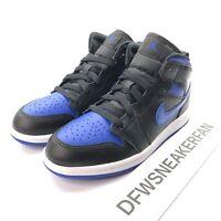 Nike Air Jordan 1 Mid Black/Hyper Royal-White (PS) 640734-068 Size 12C