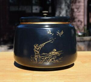 DECC Ceramic Tobacco Cannibis Humidor Black Crock Jar w/Gold Hunting Dogs Ducks