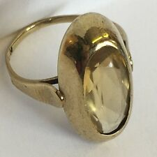Retro 1960s Solid 8ct Gold Hallmarked 333 Large Citrine Ring Size M1/2