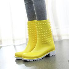 Winter NEW Women's Rain Boot Mid Calf Flat Shoes Rubber Waterproof Multi-Colors