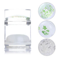Dual-ended White Jelly Stamper & Scraper Silicone Rhinestones Nail Art Tools