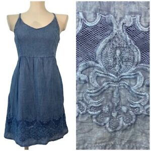 ROMEO+JULIET Couture Denim Mini Dress Floral Hem Sz S