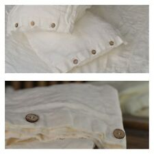 DUVET COVER set & pillow with button antique white Stone Washed Seamless full
